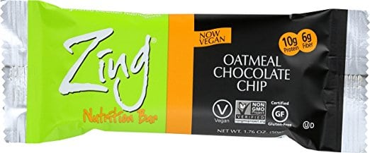 zing oatmeal bar with bright green wrapper in oatmeal flavor