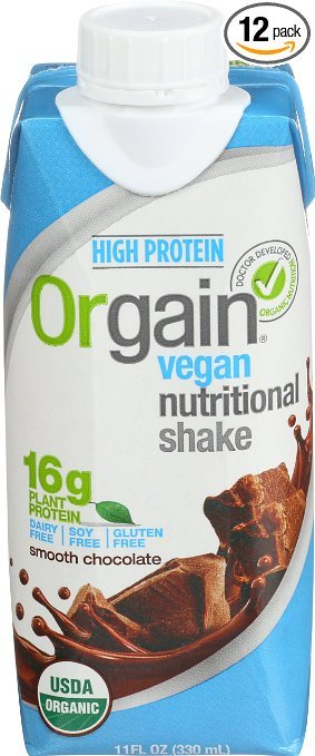 vegan protein shake with blue package