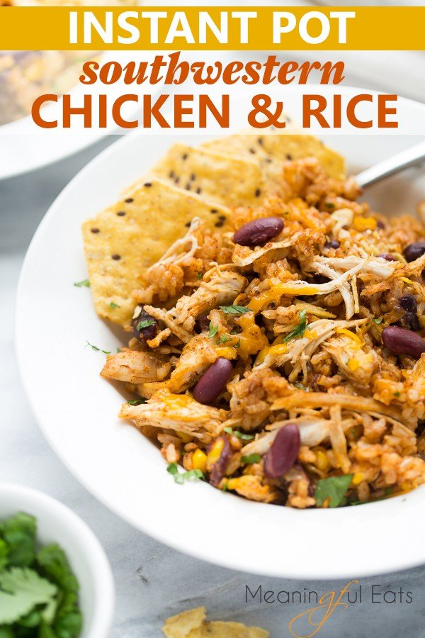 image for pinterest - close up shot of chicken and rice in white bowl with tortilla chips