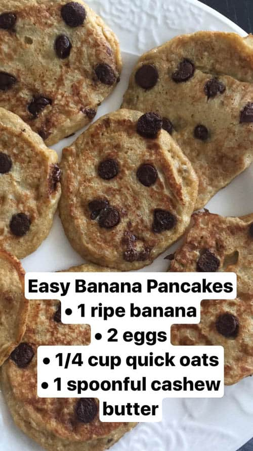 banana egg pancakes with chocolate chips on white plate