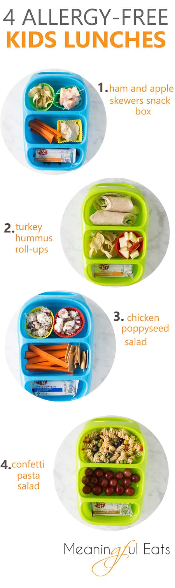 4 Allergy-Free Lunches! Easy, kid-friendly ideas that are all gluten/dairy/egg/soy/nut-free.