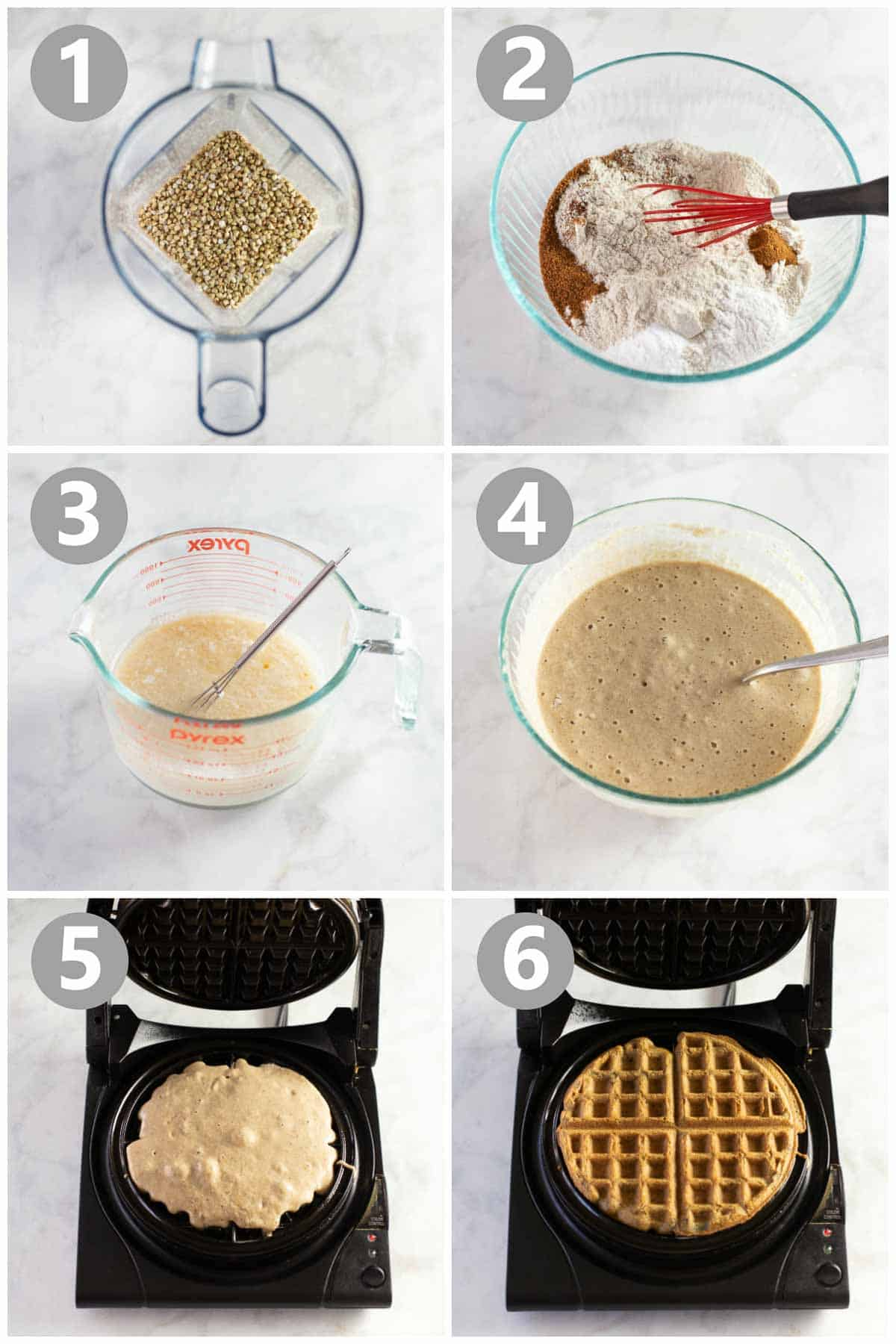 step by step instructions for how to make buckwheat waffles
