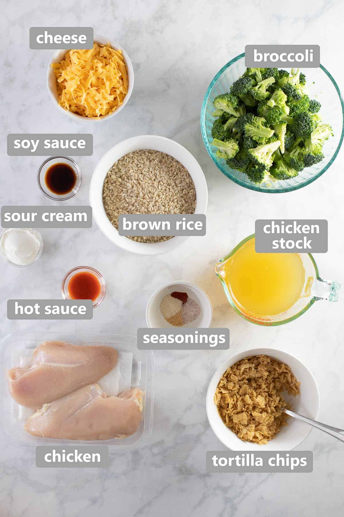 labeled ingredients to make Instant Pot cheesy chicken and rice