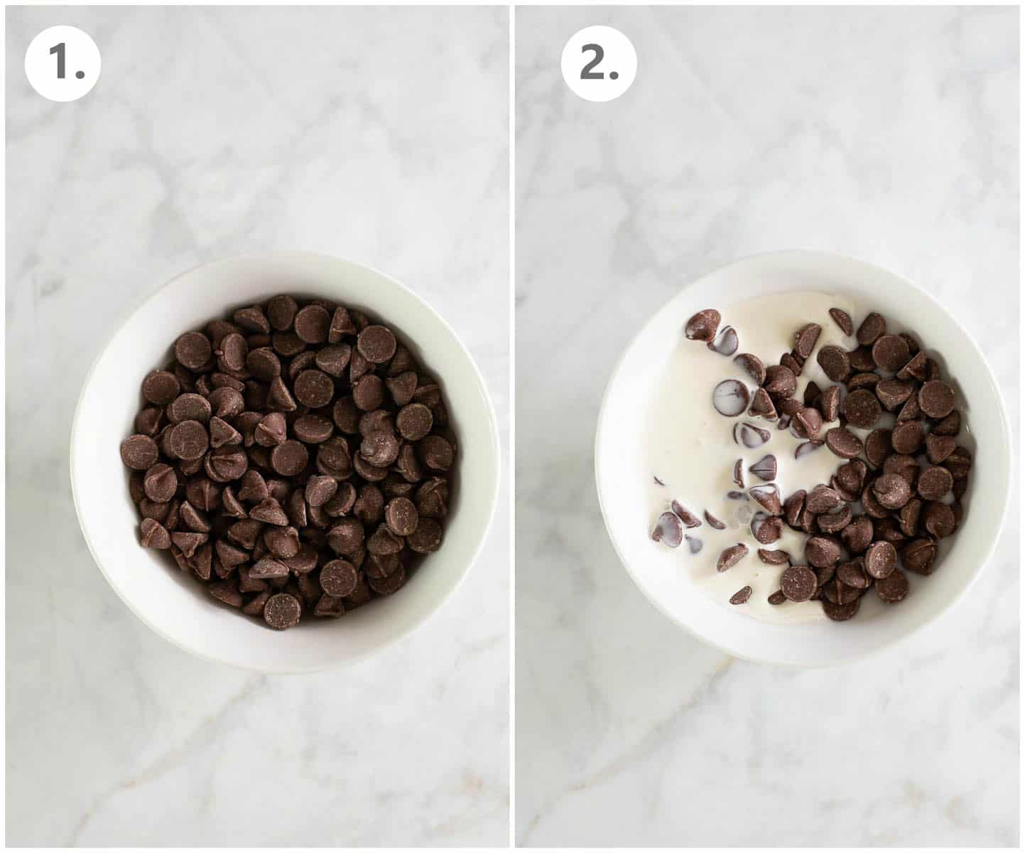 bowl of chocolate chips next to a bowl of chocolate chips with cream added