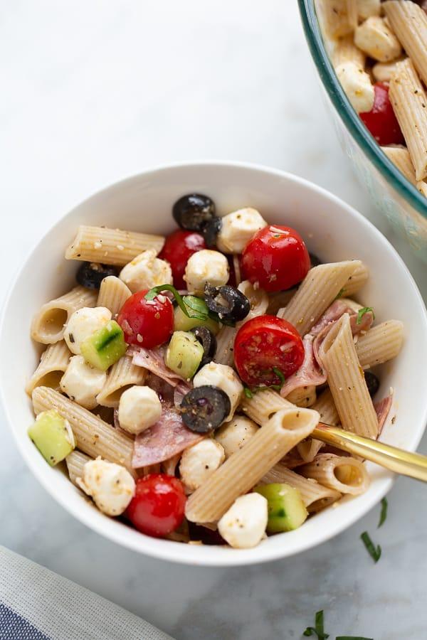 white bowl with pasta salad