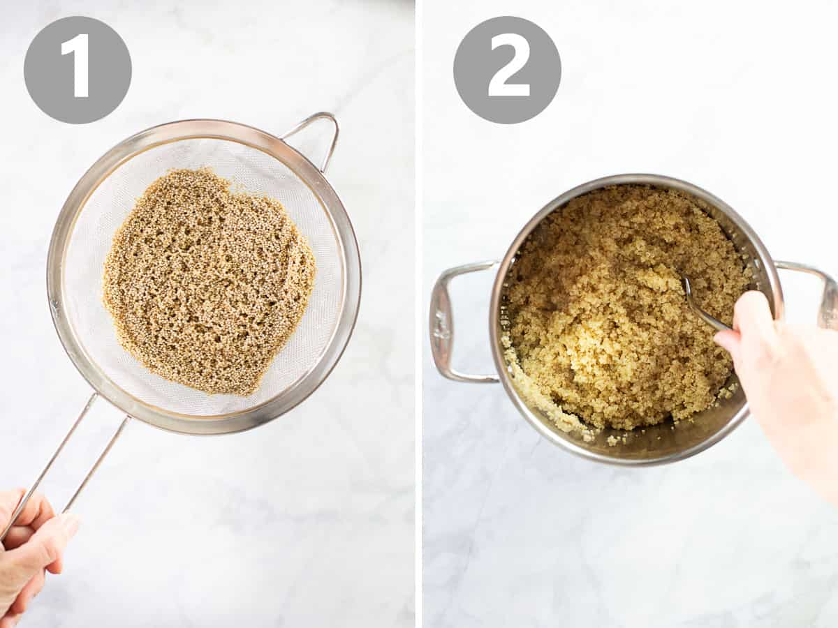 strainer with quinoa and pot of cooked quinoa