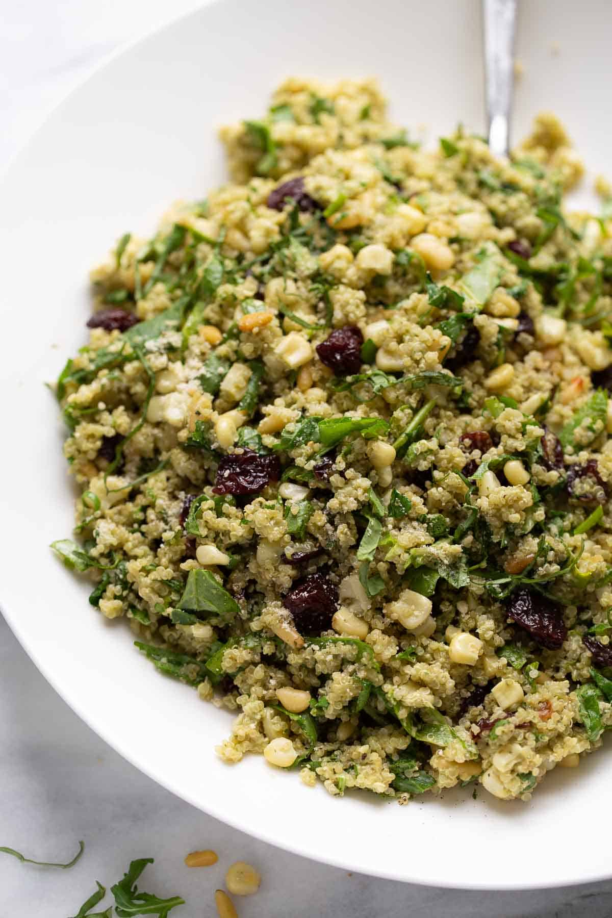 large bowl of quinoa salad