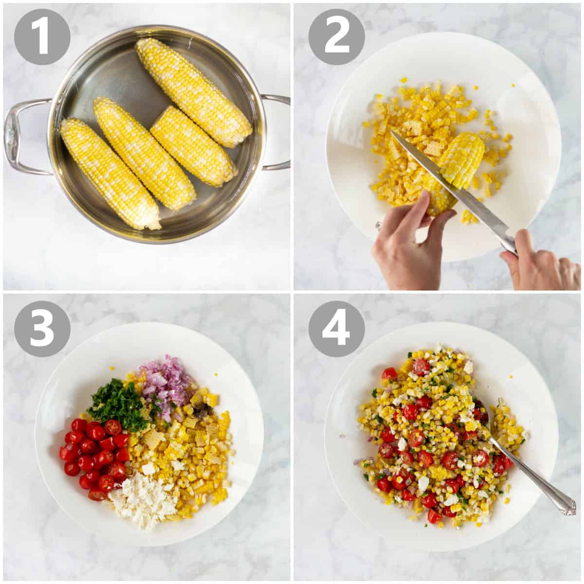 overhead shot of 4 step by step photos of how to make corn salad