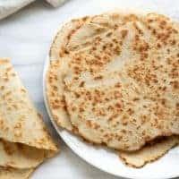 gluten-free flatbread on white plate