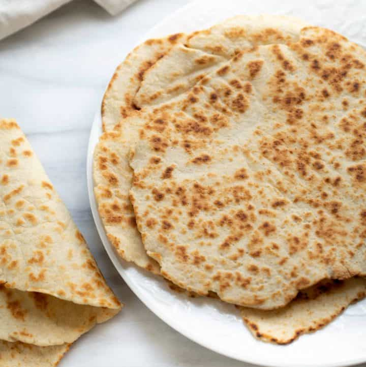 gluten-free flatbread on white plate
