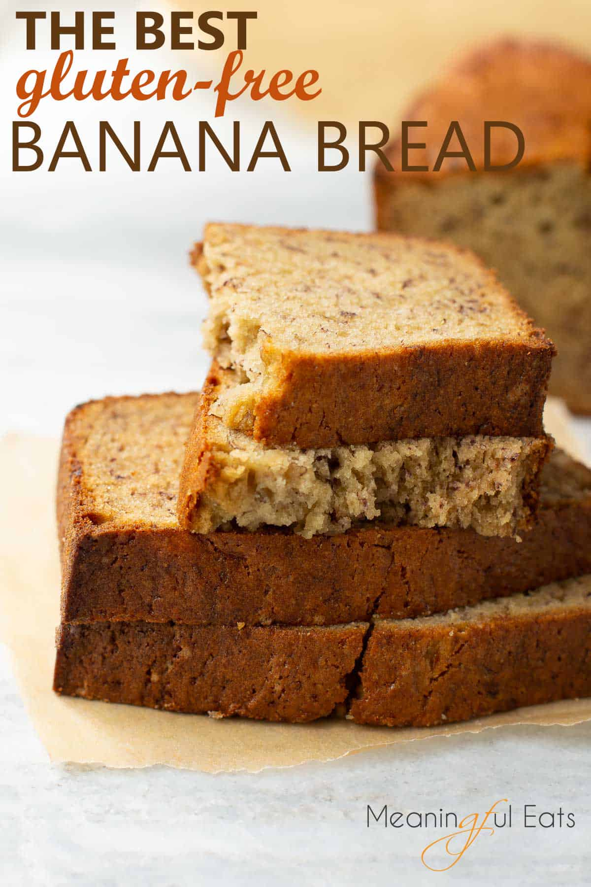 image for pinterest with stacked gluten-free banana bread