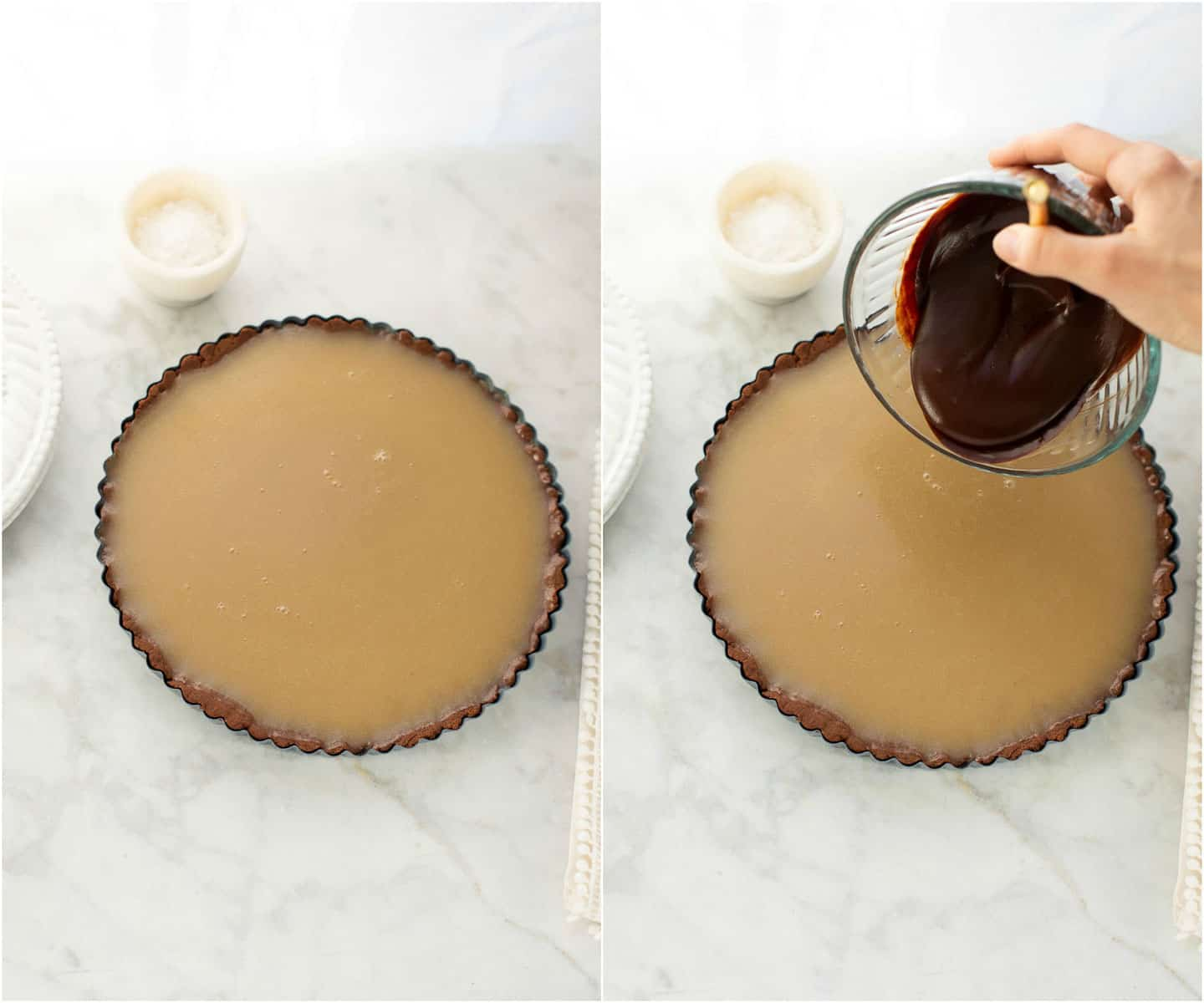 pouring chocolate over caramel in pan