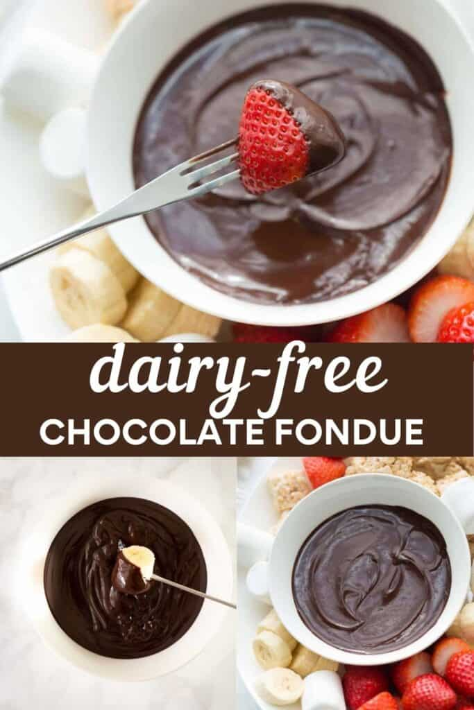 image for pinterest of dairy-free fondue collage of strawberry dipped in chocolate