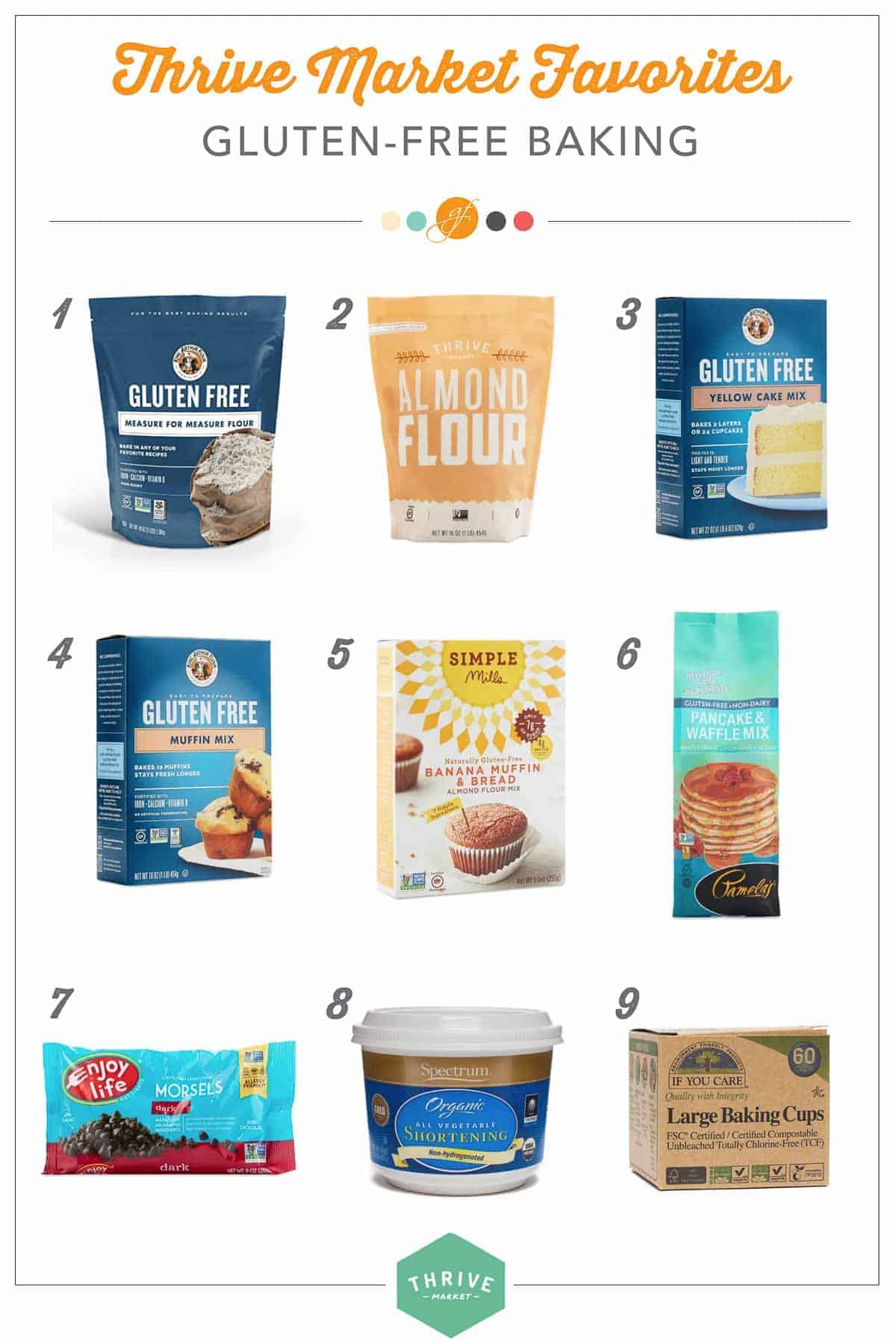 collage of gluten-free baking products
