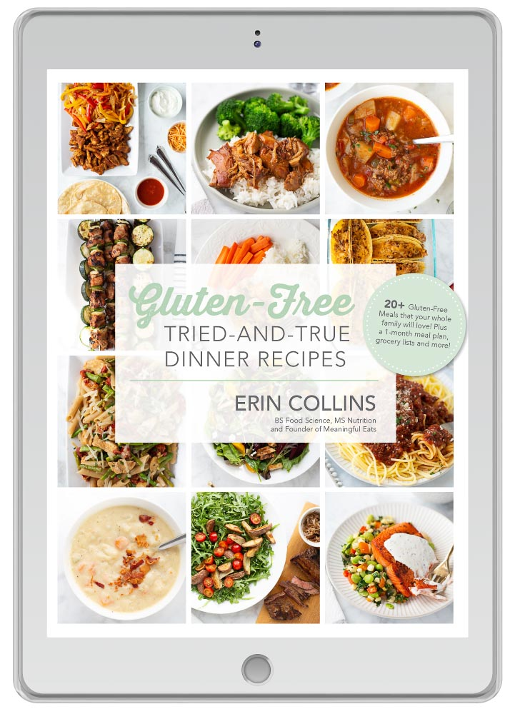 Erin Collins Gluten Free Tried and True Dinner Recipes eBook on ipad