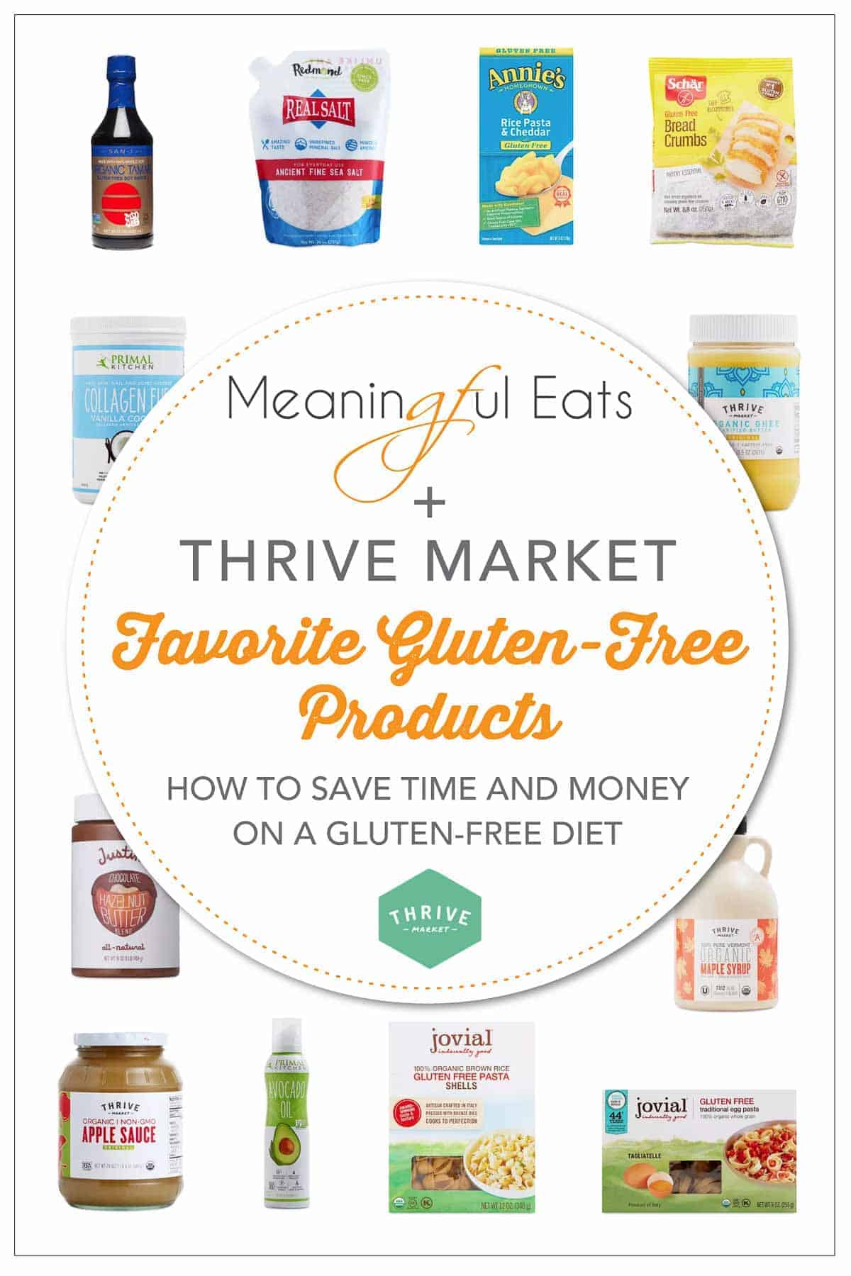 collage of gluten-free products from thrive market