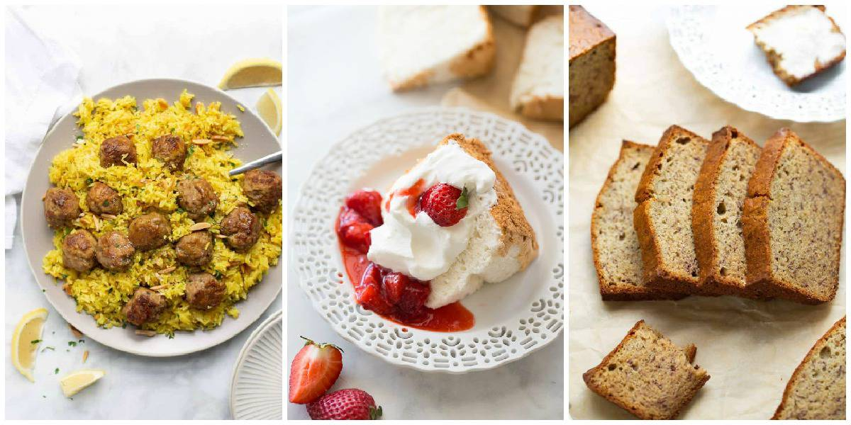 three images of meatballs strawberry shortcake and bread