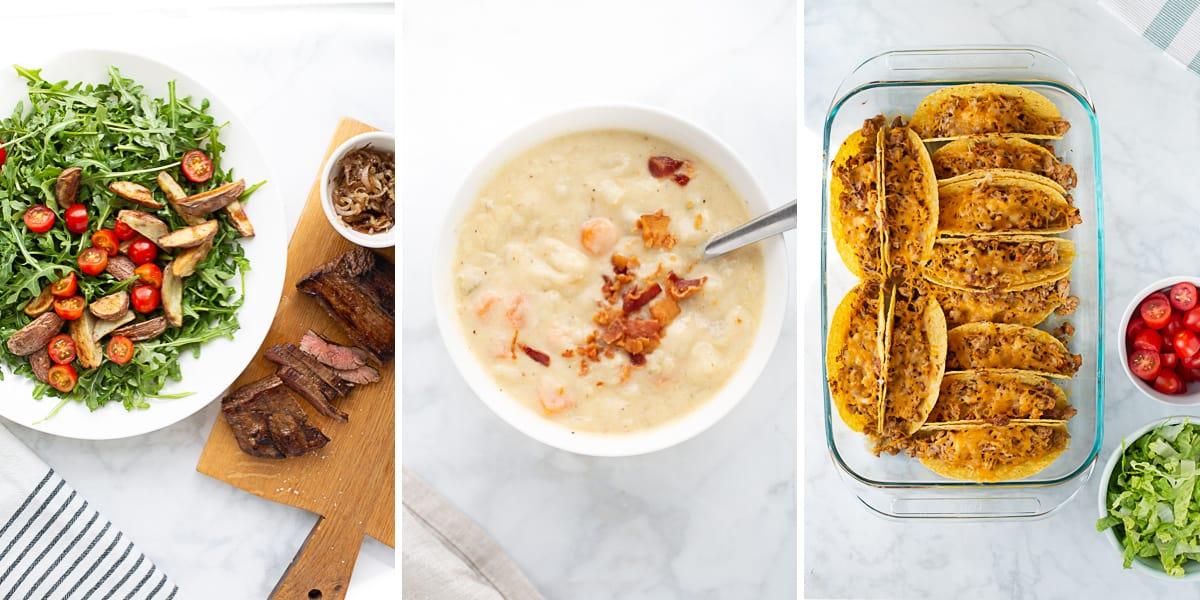 three dinner recipes from ebook