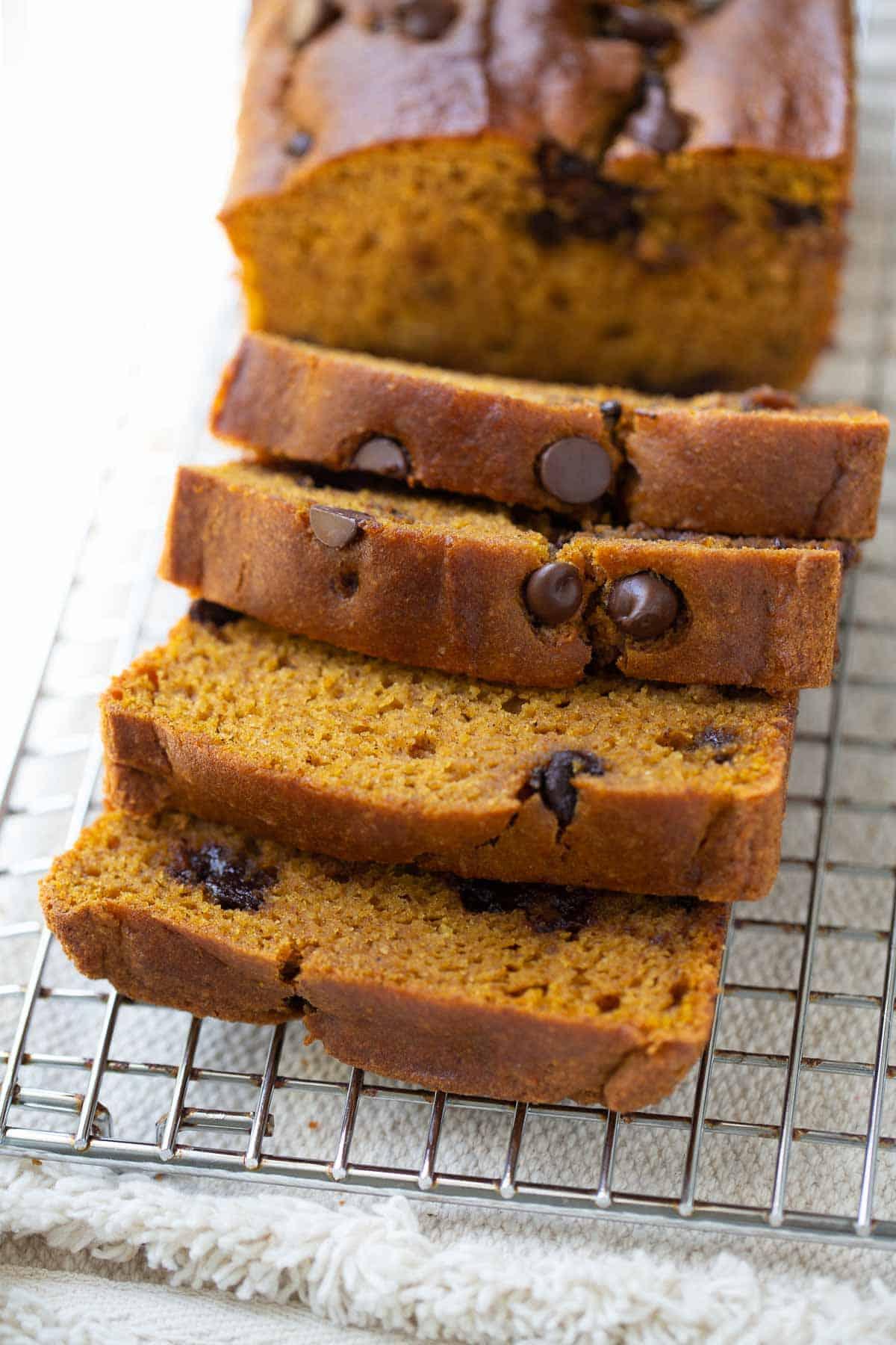 close up shot of gluten-free pumpkin chocolate chip bread