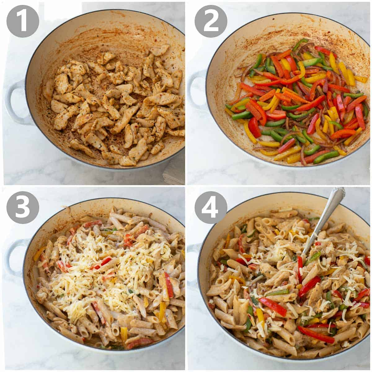 step by step pictures of how to make fajita pasta