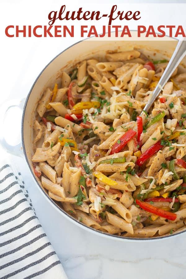 shot of fajita pasta in skillet