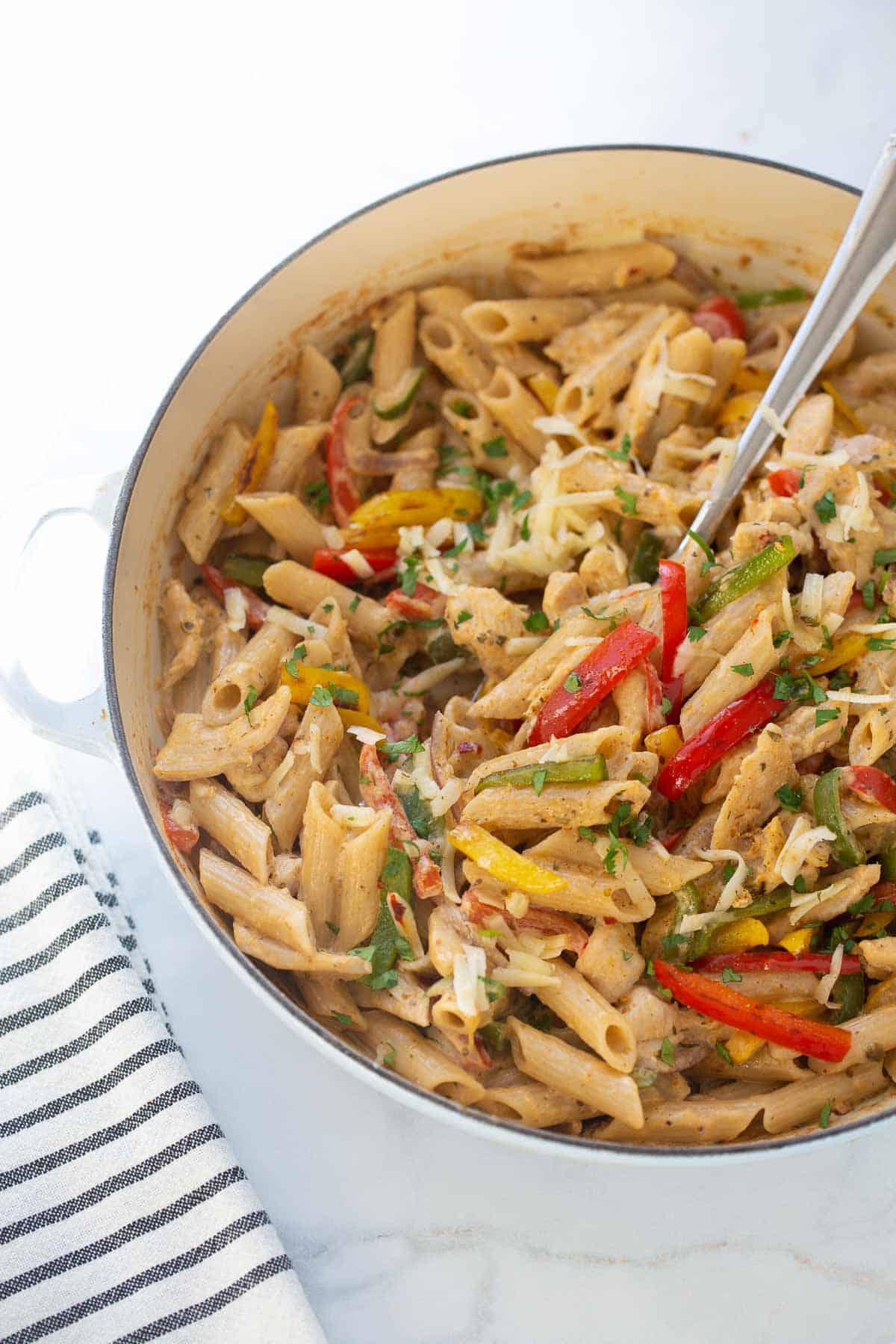 gluten-free fajita pasta in large cooking skillet