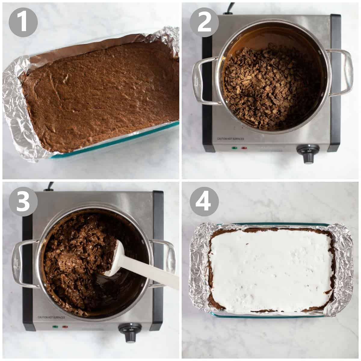 step by step instructions how to make pebbles cereal brownies