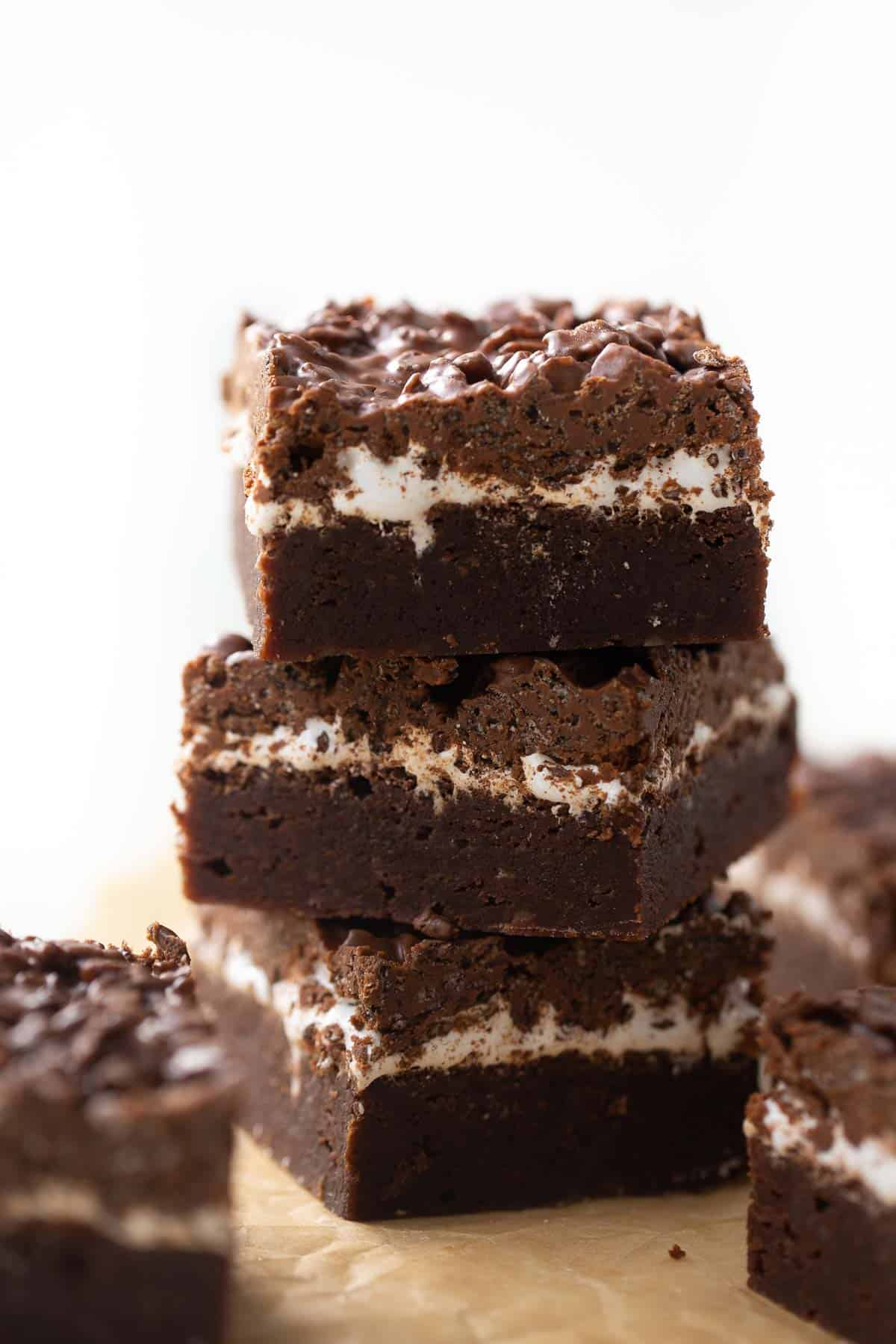 shot of 3 gluten-free brownies stacked up