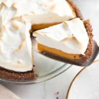 sweet potato pie slice being served with pie server