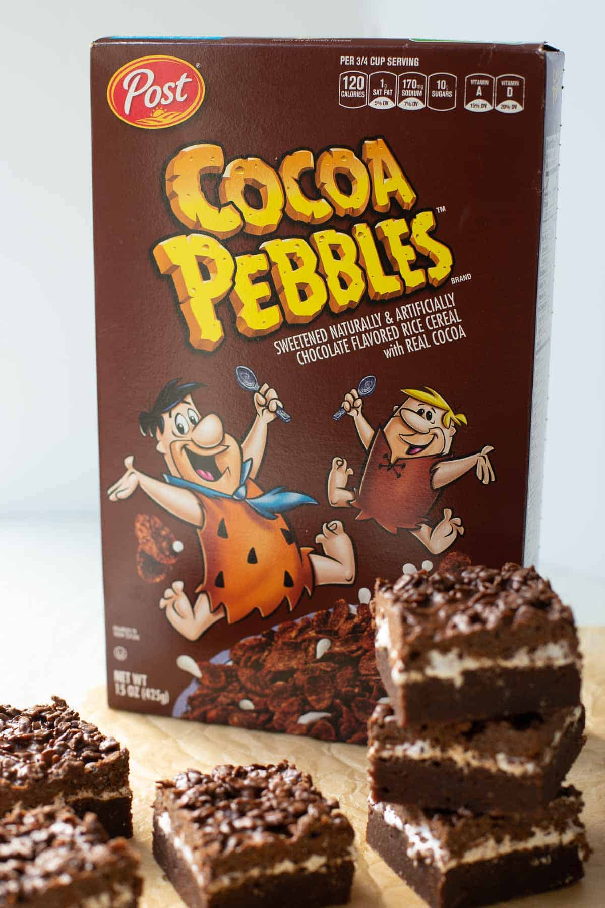 shot of PEBBLES™ cereal box