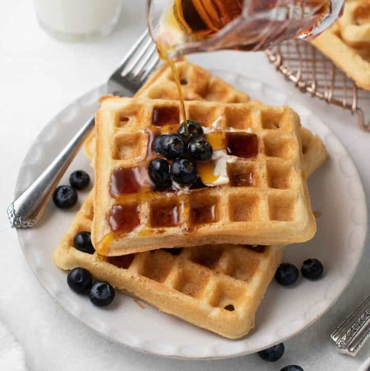 gluten free waffles on a white plate topped with blueberries and maple syrup