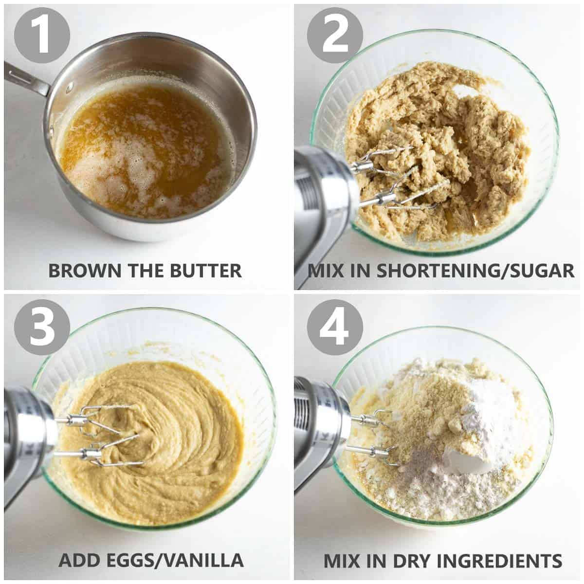 step by step photos of how to make snickerdoodle dough with hand mixed
