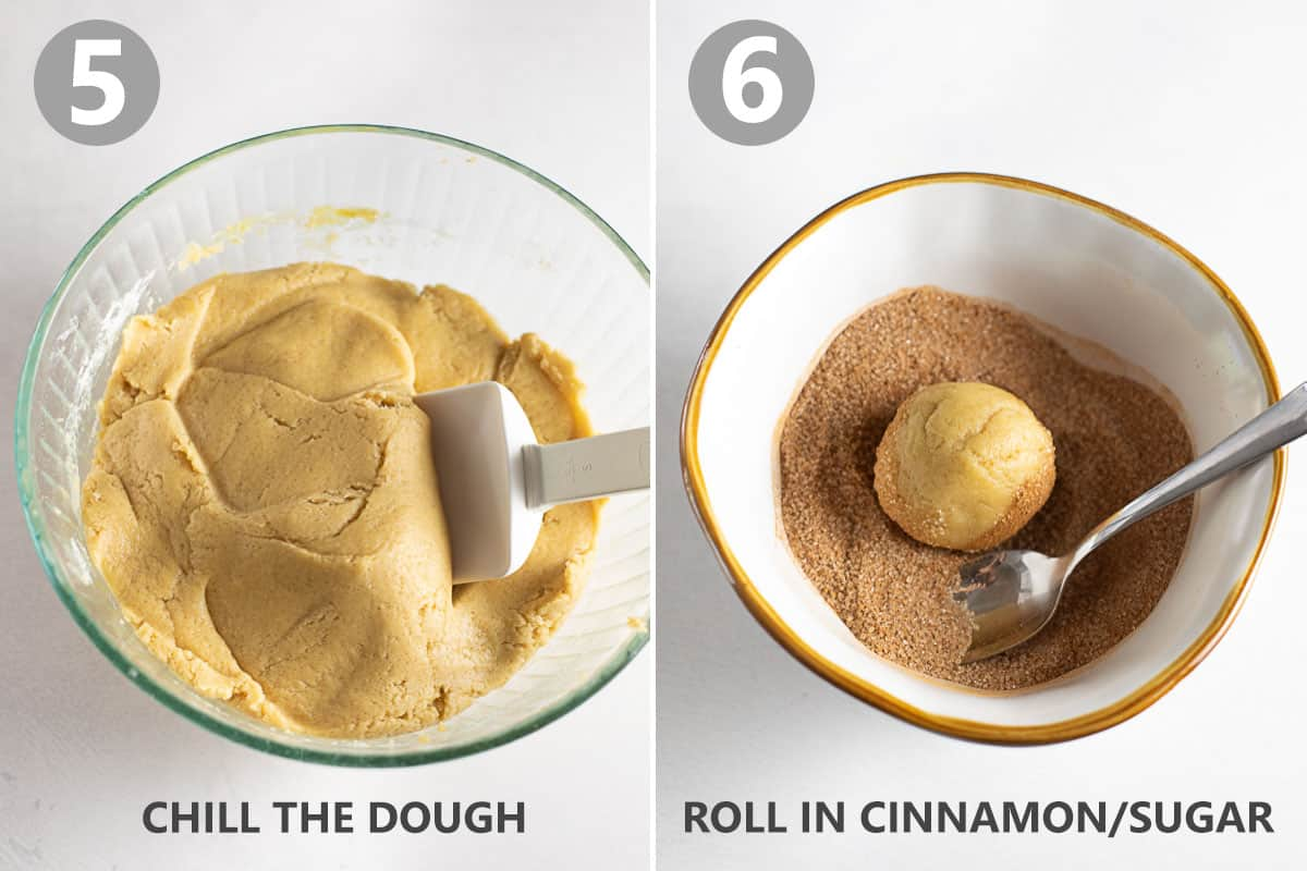dough chilling in bowl and dough ball being rolled in cinnamon sugar