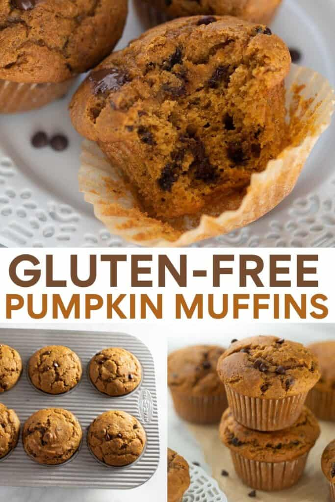 image for pinterest of gluten-free pumpkin muffins on white plate, in baking pan and stacked