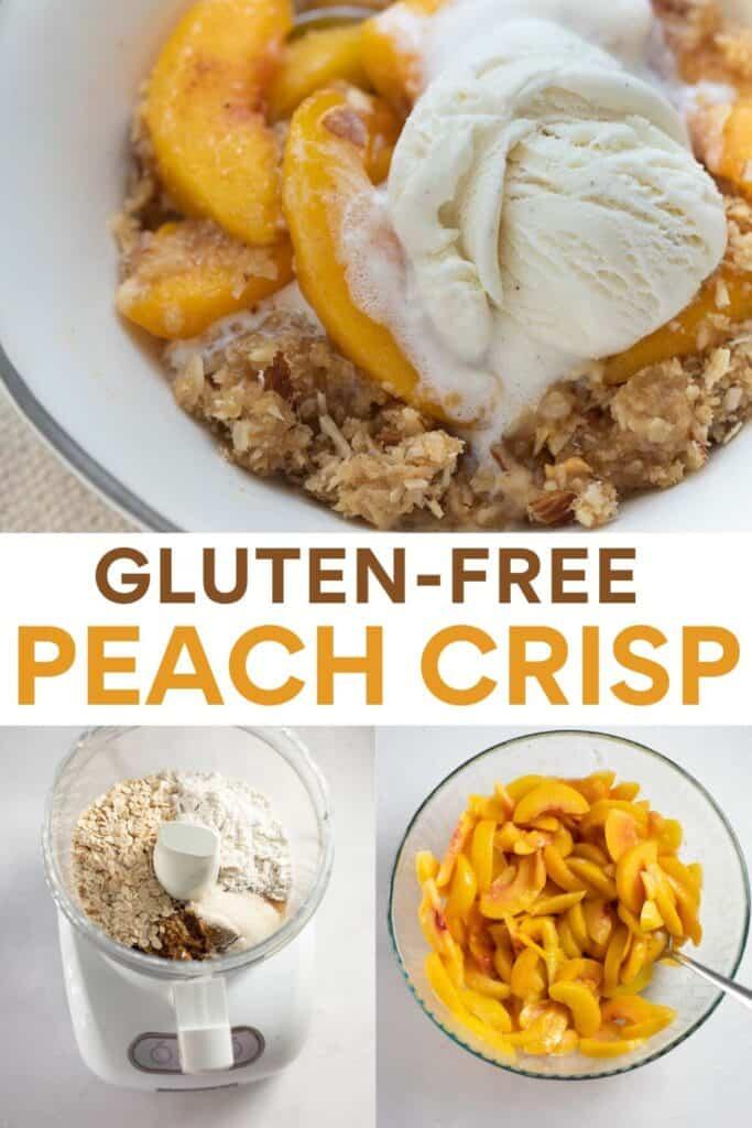 recipe for pinterest of steps of how to make peach crisp
