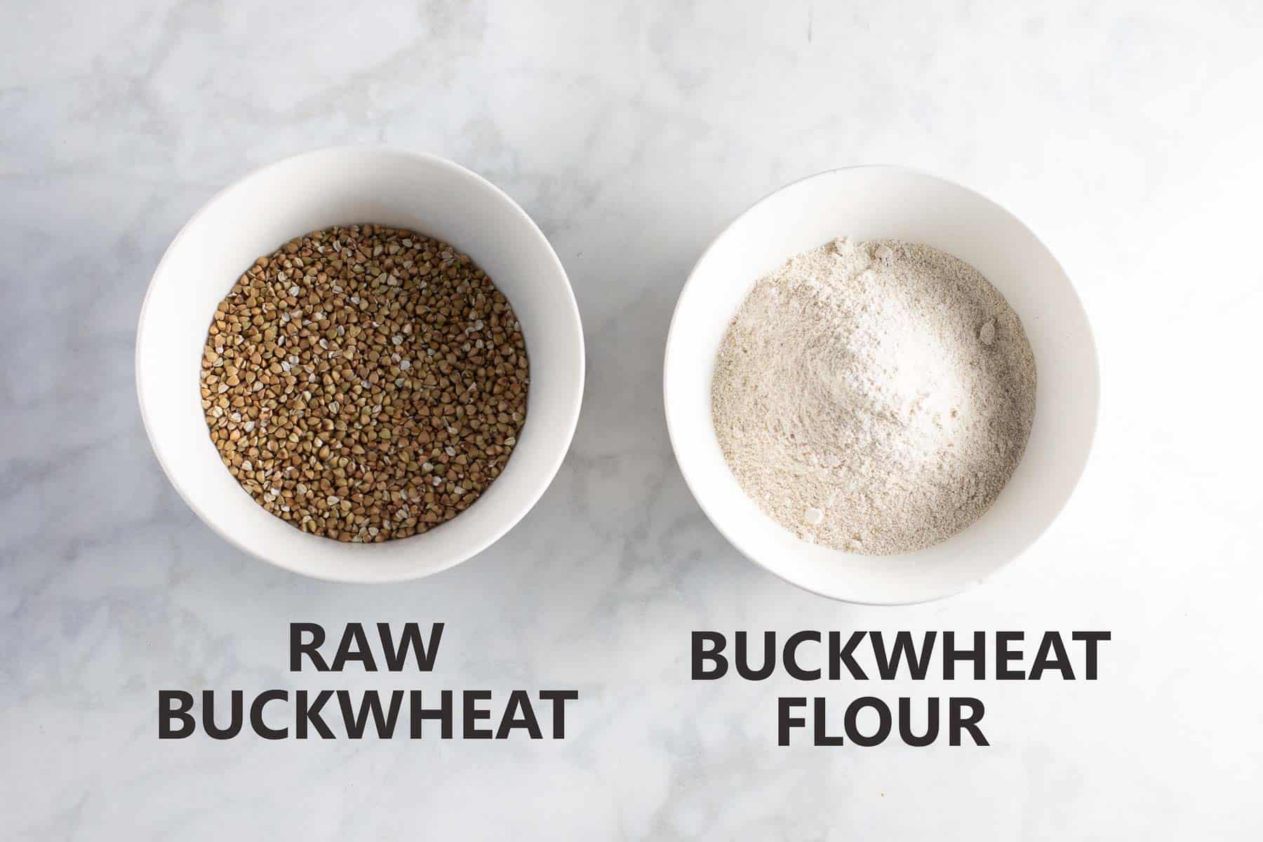 white bowl of buckwheat groats and white bowl of buckwheat flour