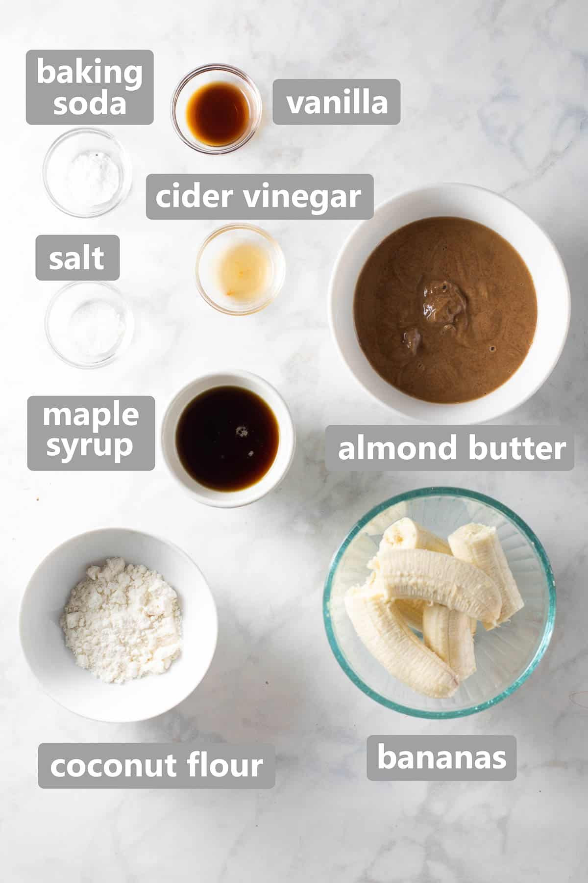 overhead shot of ingredients to make coconut flour muffins