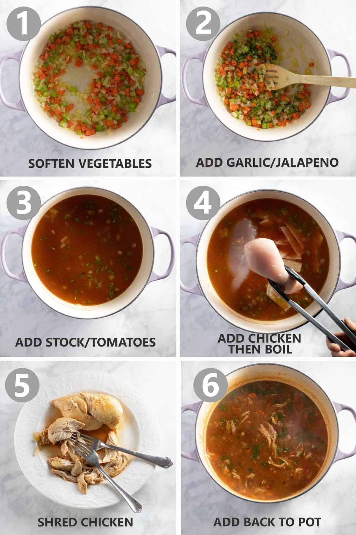 step by step photo collage with instructions of how to make homemade chicken soup recipe