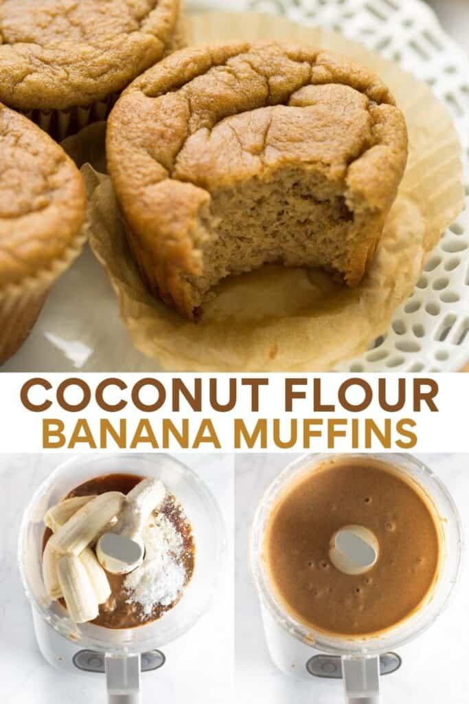 image for pinterest of coconut flour banana muffins with steps to make them