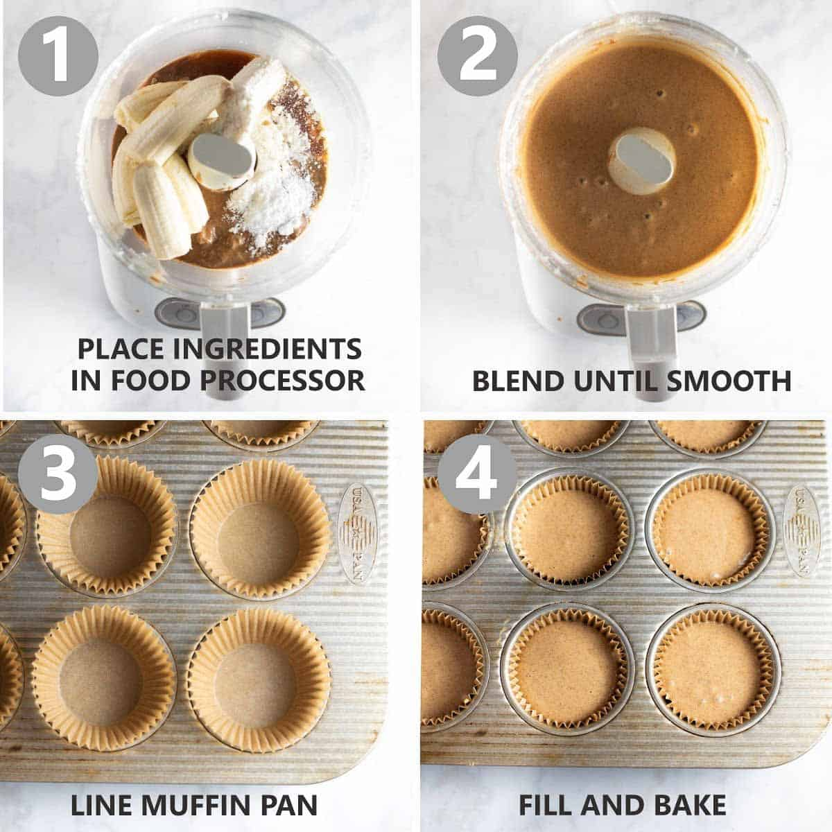 process shots of how to make the muffins