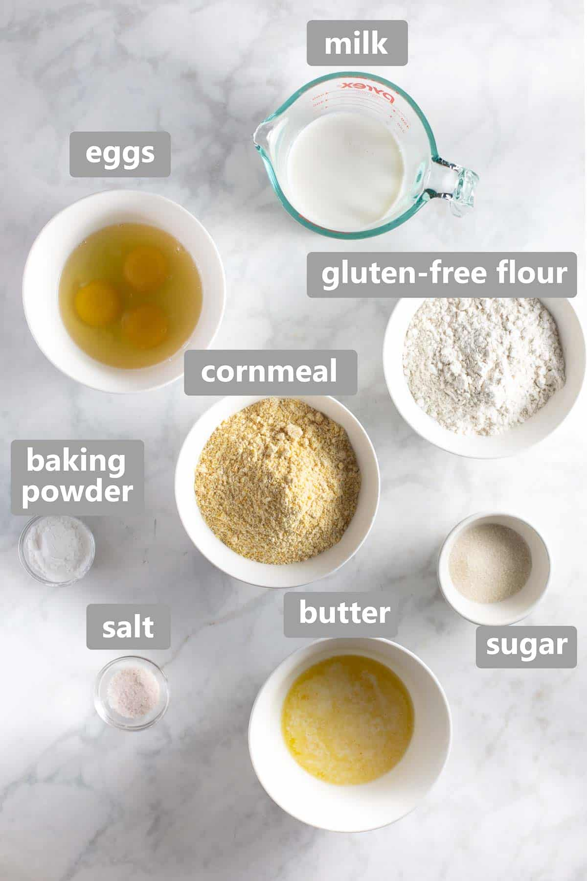 overhead labeled collage of ingredients to make the cornbread