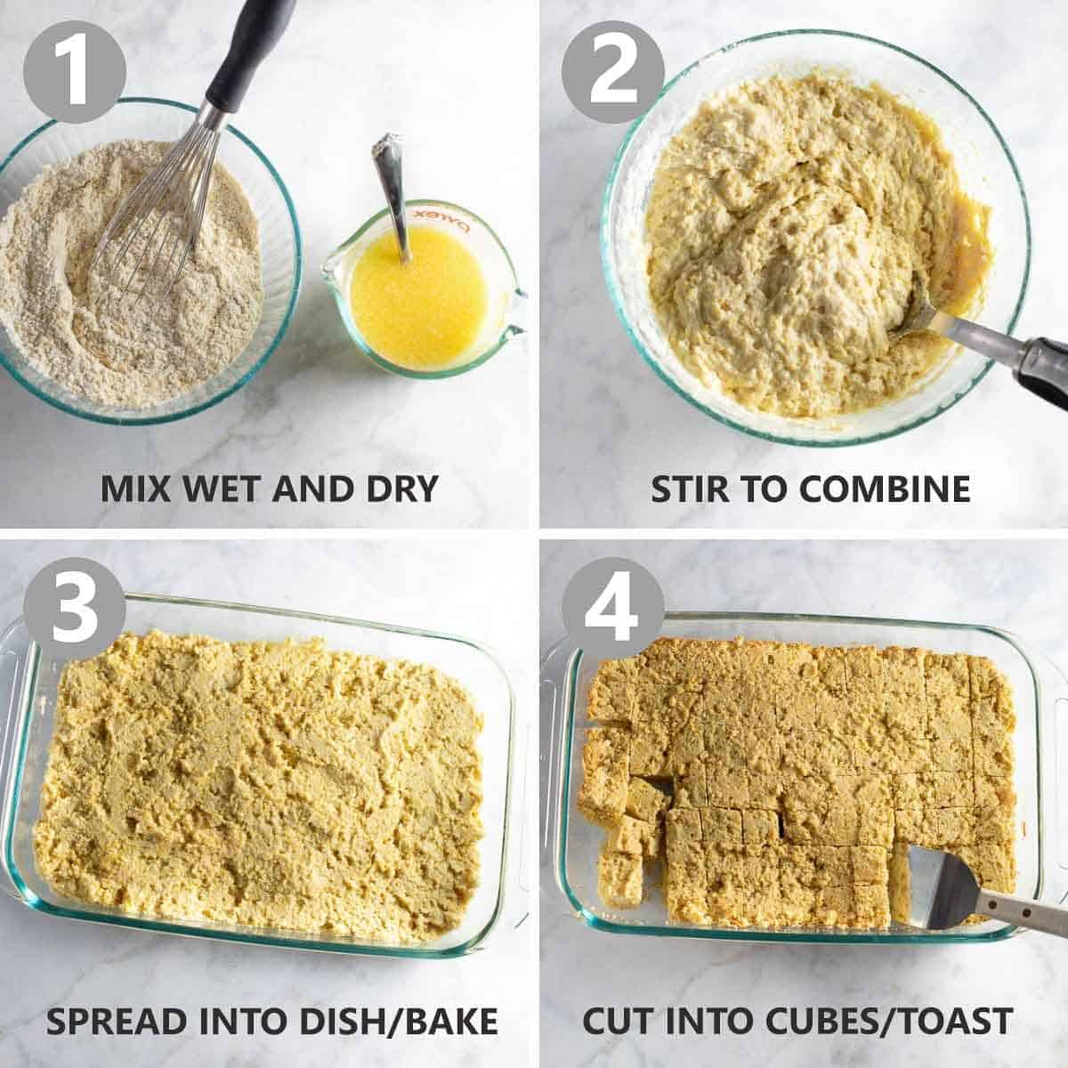 step-by-step collage of how to make the cornbread