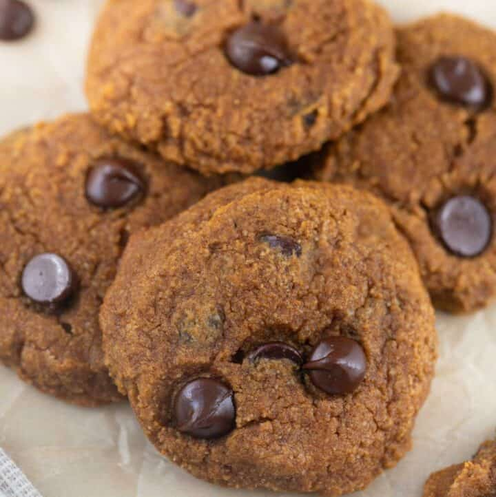 close up shot of paleo pumpkin cookies with chocolate chips, cooling on parchment paper