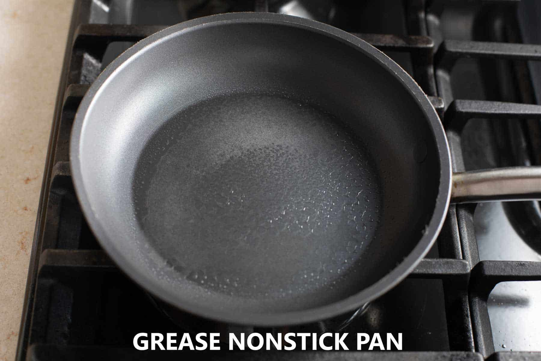 nonstick pan greased with cooking spray on burner