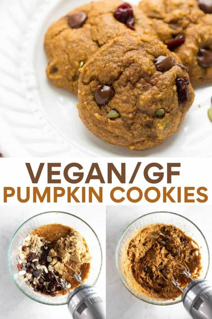 image for pinterest of how to make vegan pumpkin cookies