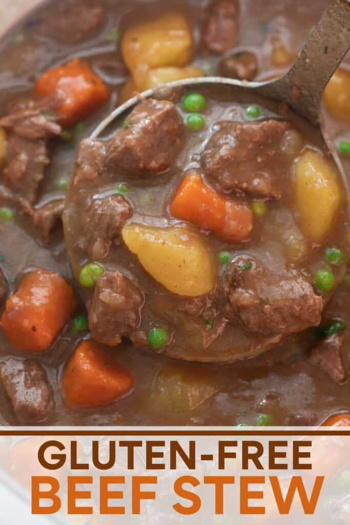 close up image of beef stew being scooped with silver ladle