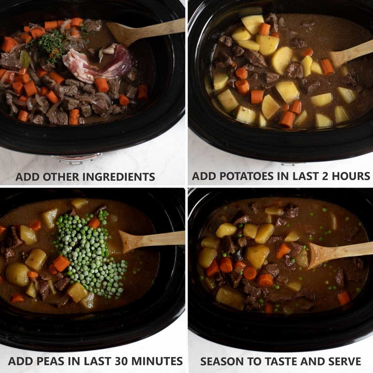 steps to finishing cooking gluten-free beef stew in the slow cooker