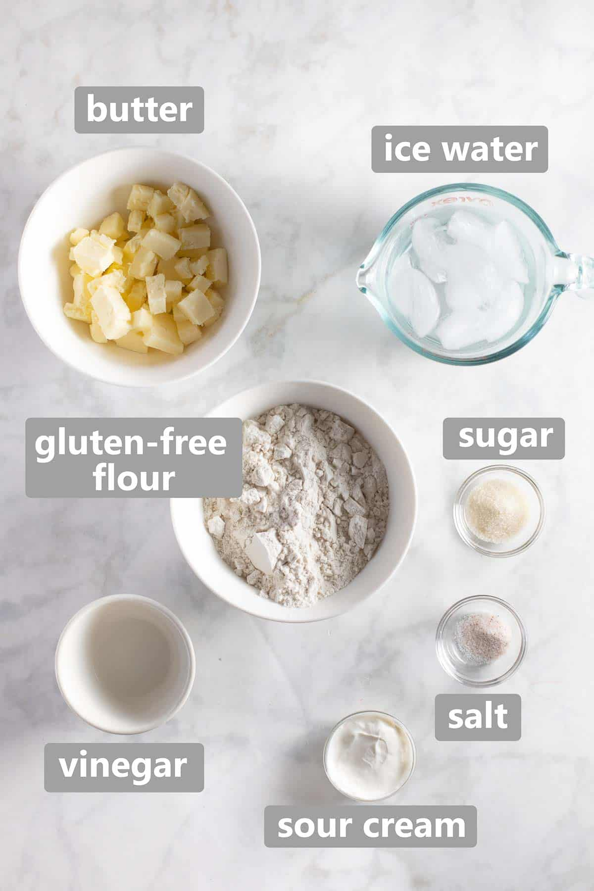 overhead shot of ingredients used to make gluten free pie crust