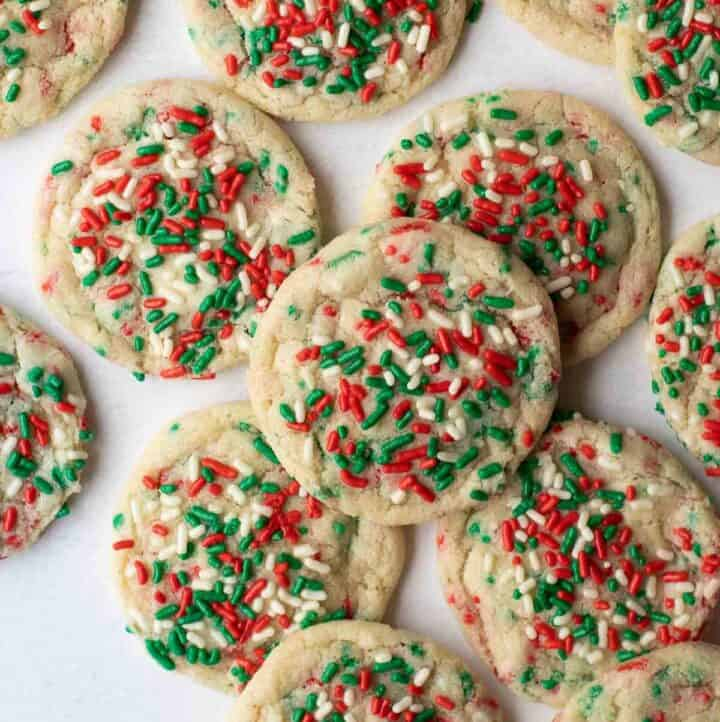 close up shot of gluten-free sugar cookies with sprinkles
