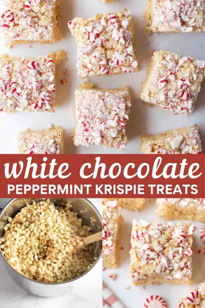 shot for pinterest of christmas krispie treats with steps of how to make